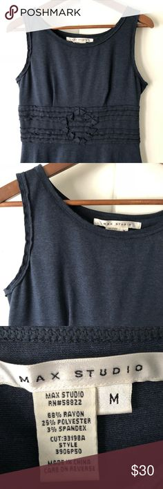Max Studio blue, beautiful waist detailing sz M Max Studio blue, beautiful waist detailing at waist. Size: M. Length: 35 inches. Chest: 17.5 inches. Navy blue. Sleeveless. A line. Great preowned condition. Max Studio Dresses Midi