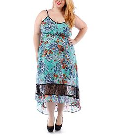 Look what I found on #zulily! Mint Floral Lace Hi-Low Dress - Plus #zulilyfinds