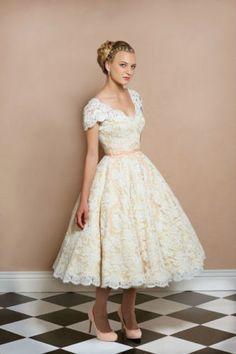 50s Vintage Lace Retro Cap Sleeve V Back Short Tea Wedding Dress Bridal Gown