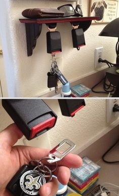 What a neat idea! Seat belt car hooks