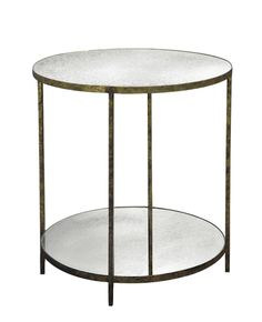 "Jonathan+Tall+Round+Table+-+Iron+Base+w/Shell+or+Reverse-beveled+Antiqued+Mirror+Top    28""Diameter+x+30""H  Bottom+Shelf:+4""H"