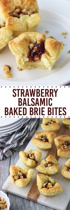 Strawberry Balsamic Baked Brie Bites feature just five ingredients! This appetizer recipe includes creamy brie cheese in mini puff pastry cups with a sprinkling of walnuts and a strawberry balsamic topping. These bites are an individually-sized way to enjoy the traditional baked brie in pastry. #EasyHolidayEats AD