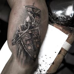 Perfect black and grey tattoo of Knight motive done by tattoo artist Niki Norberg from Sweden