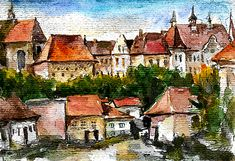 Brasov Painting - old town Brasov by Cuiava Laurentiu Old Town, Home Deco, Romania, Cities, Paintings, Wall Art, Mansions, House Styles, Decoration Home