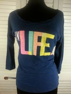 Old Navy Womens shirt Medium M Live Life Medium Long Sleeves #OldNavy #Tunic