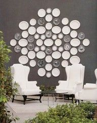 Plates are not just for cabinets anymore! Once again a deep dramatic color on the wall with stark white plates and graphic black and white plates. Notice the placement of the graphic plates in relation to the white plates. Plate Collage, Wall Collage, Wall Art, Collage Ideas, 3d Wall, White Plates, Plates On Wall, Plate Wall, Hanging Plates