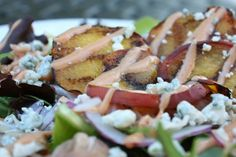 Grilled Peach And Prosciutto Salad With Creamy BBQ Dressing