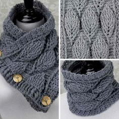 """[Video Tutorial] Amazing Crochet Leaf Stitch Cowl That'll Make Everyone Ask, """"Where'd Ya Get That?"""" - Knit And Crochet Daily Crochet Bra, Crochet Clothes, Crochet Stitches, Free Crochet, Crochet Patterns, Scarf Patterns, Scarf Crochet, Front Post Double Crochet, Half Double Crochet"""