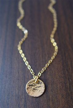 gold hammered round disc necklace