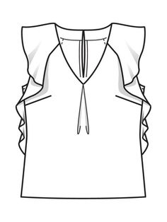 Top z falbanami - wzór № 106 A z magazynu Burda - wzory blatów na Burdastyle. Fashion Flats, Boho Fashion, Womens Fashion, Croquis Fashion, Clothing Sketches, Fashion Design Sketches, Drawing Clothes, Blouse Patterns, Top Pattern