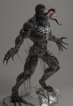 Venom by on DeviantArt All Marvel Heroes, Marvel Characters, Marvel Avengers, Predator Action Figures, Custom Action Figures, Marvel Venom, Marvel Comic Universe, Character Art, Character Design