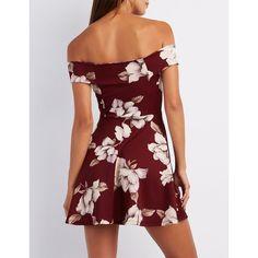 Charlotte Russe Floral Off-The-Shoulder Skater Dress (510 MXN) ❤ liked on Polyvore featuring dresses, skater dress, long-sleeve skater dresses, floral dresses, burgundy dress and long-sleeve floral dresses