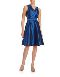Badgley Mischka Platinum Belted Fit-and-Flare Dress Women's Blue 8