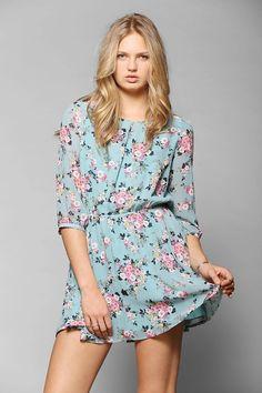 Lucca Couture Chiffon 3/4-Sleeve Mini Dress