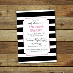 baby girl shower invitation modern stripes by saralukecreative