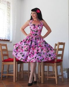 Pinup dress 'Orchid Night' PLUS SIZE AVAILABLE gorgeous rockabilly dress, 50s dress
