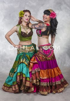 Shop Tiered Ruched Skirts of Recycled Sari Fabrics from Dahlal. Each skirt is one of a kind and made by fair trade skilled tailors. Belly Dancer Costumes, Belly Dancers, Dance Costumes, Belly Dance Skirt, Belly Dance Outfit, Tribal Skirts, Tribal Costume, Tribal Belly Dance, Sari Fabric