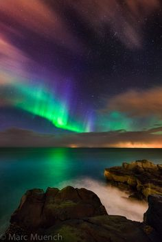 Aurora Borealis over Keflavik Iceland.