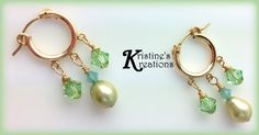 Peal Swarovski Crystal Gold Filled Hoops by DivaKreations on Etsy