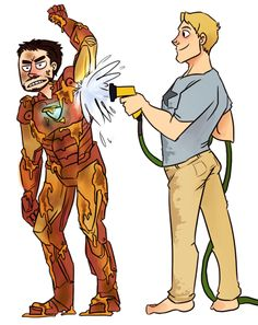 """Anonymous asked you: Tony´s Iron Man is all dirty (maybe he fell on the mud, or Hawkeye made a improptu icecream war or Hulk sneezed) and Cap is helping him clean with the hose. Tony isn´t exactly happy but Steve can´t help but laugh a little."" i..."
