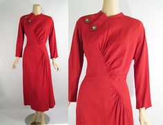Etsy listing: 50s Dress Red Crepe Gathered Front with Rhinestones by Kay Carter