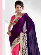 Fashionable purple and pink viscose saree: KSR2398