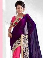 Fashionable purple and pink viscose saree: KSR2398