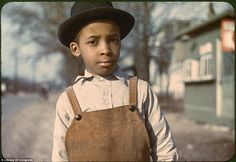 """Caption with color slide: """"Negro boy near Cincinnati, Ohio."""" Photograph by John Vachon, 1942 or Library of Congress record page for this image. Library of Congress Prints and Photographs Division Washington, D. Spiegel Online, Digital Photography School, Great Depression, American Children, Art Children, Library Of Congress, Second World, Portrait Photo, Color Photography"""