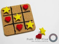 Tic-tac-toe fun: only felt, push pin and coaster are needed