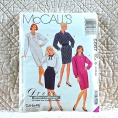 5667 McCALLS Uncut PATTERN 1991 Women One & Two Piece Pullover Dress Pegged Skirt Front Pleats Back Zipper Long Sleeves Size 20 22 24 3-oz