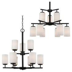 Sea Gull Lighting Oslo 9-Light Blacksmith Multi Tier Chandelier-31162BLE-839 - The Home Depot