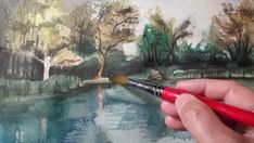 Waterside painting in watercolour. Watercolour painting. Paint Waterside. Landscape in watercolour. Drawing tutorial. Painting tutorial. Orfű, side of lake. ...