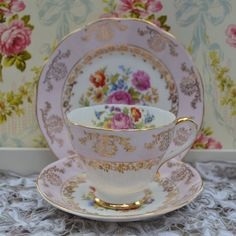 Vintage English Bone China Tea Trio Tea Cup by ImagineHowCharming