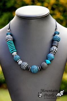 Polymer clay necklace, Mountain Pearls by Nataša Hozjan Kutin
