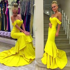 77.06$  Watch now - http://viwsw.justgood.pw/vig/item.php?t=gycxdh36957 - Sexy Yellow Satin Mermaid Evening Dresses Formal Party Prom Bridal Gowns Custom 77.06$
