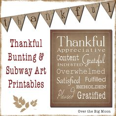 Thanksgiving Bunting and Subway Art