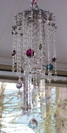 In the Stars Jeweled Antique Crystal Wind Chime by sheriscrystals, $234.95: