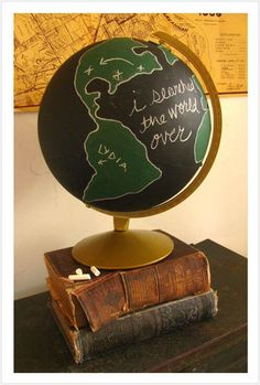 I searched for you. - I love this. A globe painted and marked for where you traveled and adopted each child from!