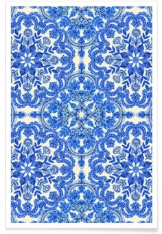 Blue & White Folk Art Pattern as Premium Poster by Micklyn Le Feuvre | JUNIQE