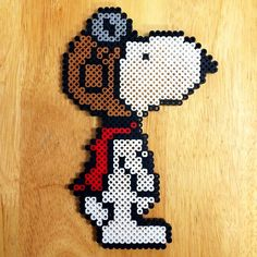 Snoopy - Peanuts perler beads by Perler Bead Designs, Perler Bead Templates, Perler Beads, Perler Bead Art, Fuse Beads, Pearler Bead Patterns, Perler Patterns, Beaded Snoopy, Safety Pin Crafts
