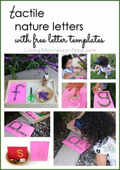 Free printable letter templates for making tactile nature letters (or any other tactile letters); post includes the Montessori Monday linky collection and A to Z Spring Outdoor Activities Blog Hop