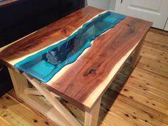 Walnut Slab River Coffee Table by 4MILEWoodDesign on Etsy