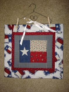 Texas flag quilted wallhanging bluebonnet by CountryStittches, $12.99