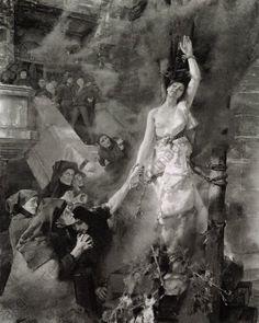 Keller, Gemälde von Albert von (b,1844)- Woman (Witch) Being Burned at Stake -2a
