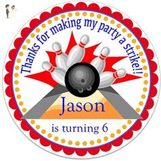 """40 Round Labels 2"""" Personalized Bowling Pin Birthday Stickers, Custom Hangtags, Party Favors Labels, Cupcake Toppers, Choice Of Size - Cake and cupcake toppers (*Amazon Partner-Link)"""