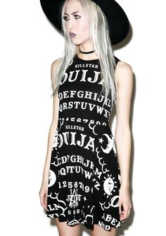 Killstar Ouija Skater Dress turn down tha lights and light sum candles, cuz we're doin' the dark arts! Invoke tha spirits in this supernatural black sleeveless dress, featuring a rounded neckline, keyhole button back detail, soft pleating on tha skirt, and classic white ouija board symbols printed all over.