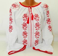 Romanian Peasant Ethnic Top Tunic Embroidered Blouse all custom sizes linen or cotton Bohemian Tops, Boho, Folk Fashion, Womens Fashion, Ukrainian Dress, Kids Winter Fashion, Fleece Hats, Pakistani Fashion Casual, Beaded Cross Stitch