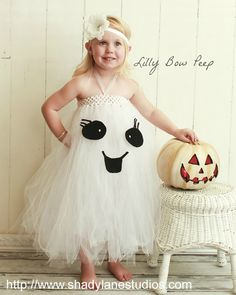 Halloween Friendly Ghost White & Black Tutu Dress Flower Headband