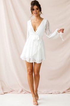 <img> Shop the Sheri Hail Spot Chiffon Dress White Grad Dresses, Fall Dresses, Homecoming Dresses, Casual Dresses, Short Dresses, Quinceanera Dresses, Chiffon Dresses, Floral Dresses, Summer Dresses