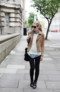Brown jacket, white sweater, black pants, stylish black shoes and hand bag for ladies